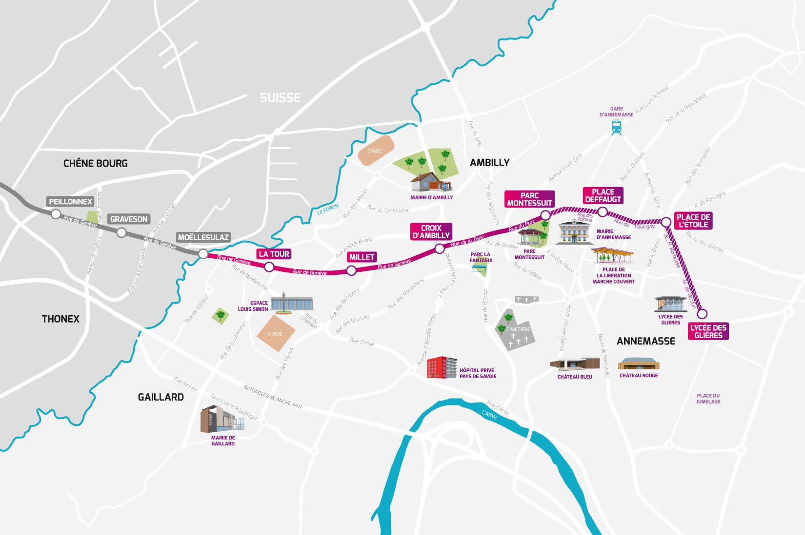 Le tracé du Tram Annemasse - Genève