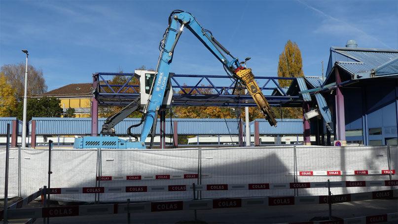 Tram Annemasse Geneve démolition douane moillesulaz suisse