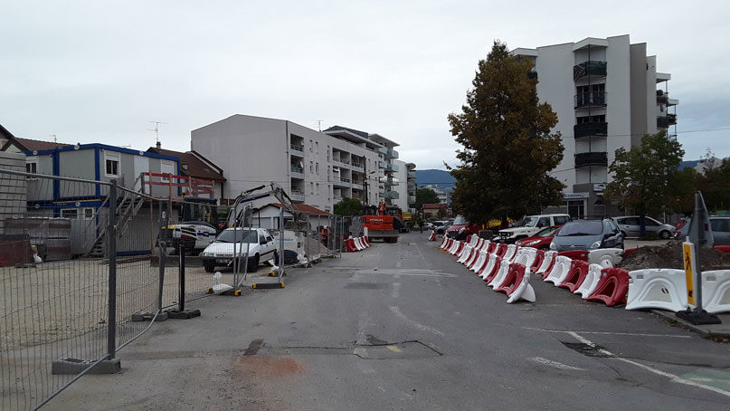 Tram Annemasse Genève rue de la zone