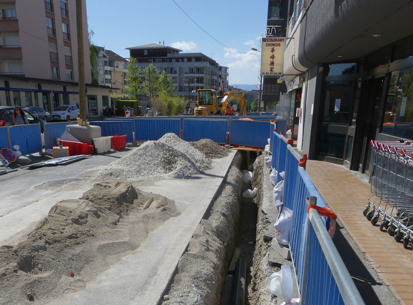 Tram Annemasse Genève tranchées conduits gaz