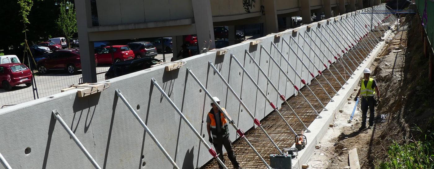 Tram Annemasse Geneve travaux mur soutenement mai 2017