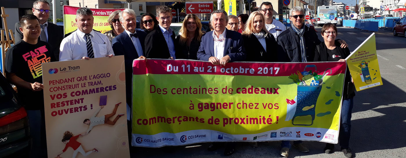 Tram Annemasse Geneve inauguration a 2 pas commerce proximite