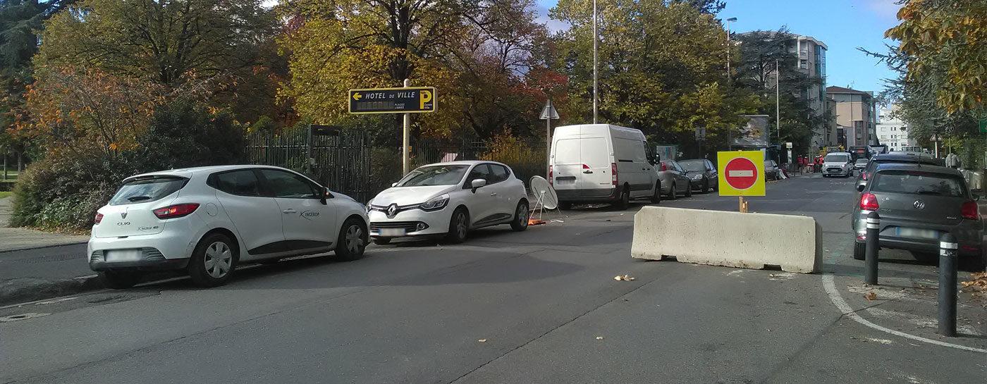 Tram Annemasse Genève mise en sens unique rue du parc