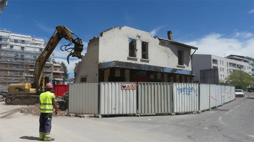 chantier tram annemasse genève travaux démolition pub