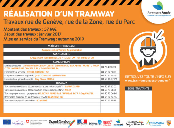 Panneau legal chantier tram annemasse geneve