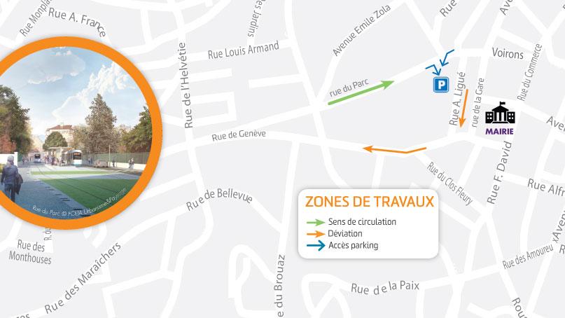 Tram Annemasse Geneve plan rue du parc