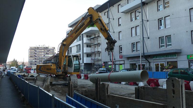 Tram Annemasse Genève tuyaux eaux pluviales