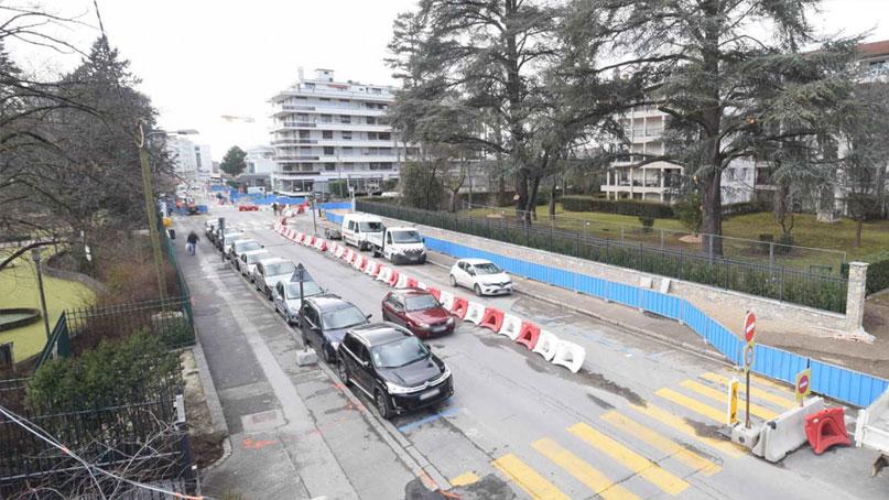 Tram Annemasse Genève bascule travaux rue Parc-pleinepage