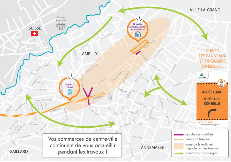 Tram Annemasse Genève schéma itinéraires conseillés
