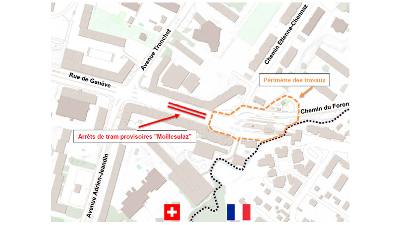 Tram Annemasse Genève travaux suisse plan