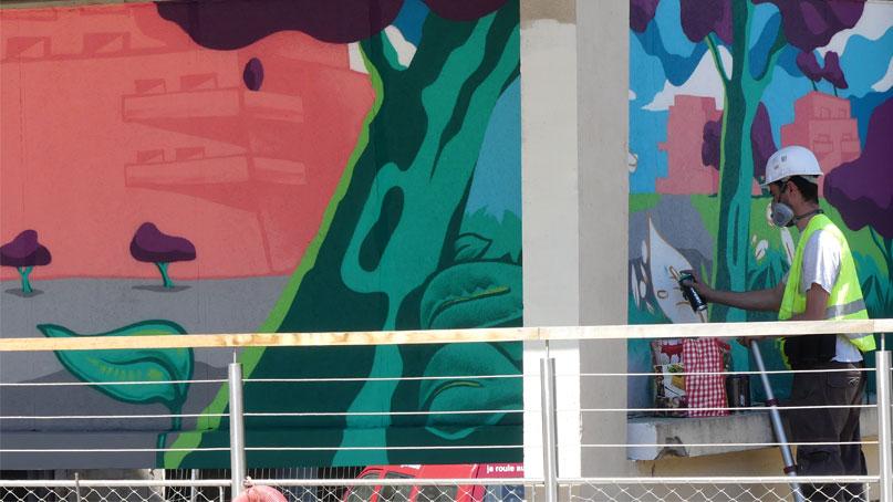 Tram Annemasse Genève fresque murale copropriété du salève